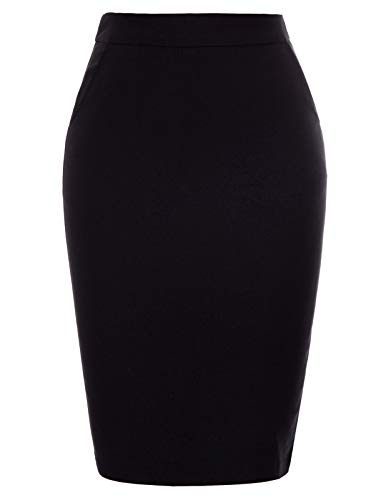 Women's Solid Color Split Stretchy Knee Length Hips-Wrapped Bodycon Pencil Skirt (Black Pencil Skirt Pockets)