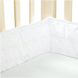 White Eyelet Cradle Bumper Size: 15x33 (Bassinet White Eyelet Bedding)