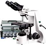 AmScope B690A-PCT200INF-PL Siedentopf Binocular Compound Microscope, 40X-1500X Brightfield Magnification, 100X-1500X Turret-Mounted Phase-Contrast Illumination, WH10x and WH15x Super-Widefield Eyepieces, Infinity Plan Objectives, Kohler Condenser, Double-Layer Mechanical Stage