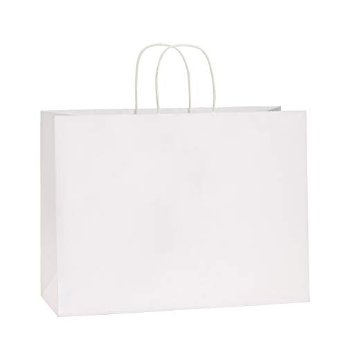BagDream 16x6x12 Inches 50Pcs White Kraft Paper Bags with Handles Bulk Paper Gift Bags, Shopping Bags, Grocery Bags, Mechandise Bags, Party Bags, 100% Recyclable Large Paper - Large Gift White Bag