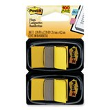 Post-it 680YW2 Standard Page Flags in Dispenser, Yellow, 100 Flags/Dispenser ()