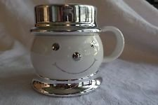 2008 Slatkin & Co. White & Silver Snowman Coffee Tea Hot Chocolate Mug by Slatkin