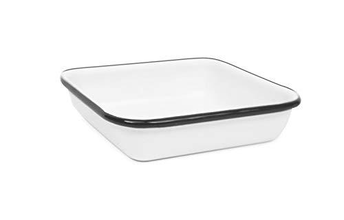 Enamelware Square Tray, 4.75 inch, Vintage White/Black