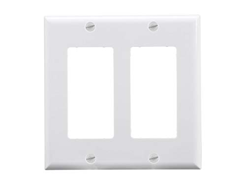 Monoprice 2-Gang Dcor Wall Plate - White for Home,Office, Personal - Wall Dcor Plate