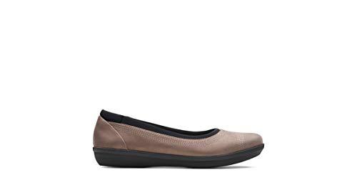 - CLARKS Women's Ayla Low Ballet Flat, Bronze/Metallic Synthetic, 080 M US