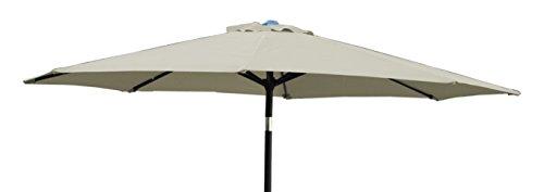 Jeco Inc. 6.5' x 10' Aluminum Patio Market Umbrella Tilt w/Crank - Tan Fabric/Black Pole