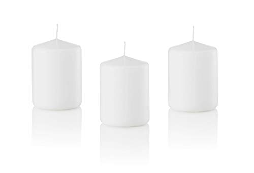D'light Online 3 X 4 Pillar Candles Bulk Event Pack Round Unscented White Pillar Candles Qty 12 - (White)