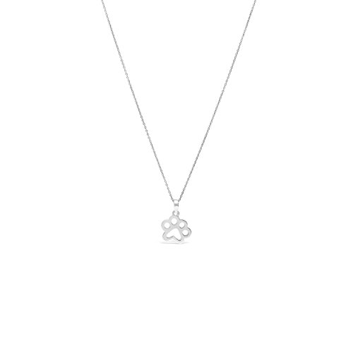 (James Free 14k Solid White Gold Paw Print Necklace, 16-18 inches)