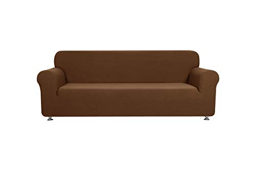 (Fancy Collection Sure Fit Stretch Fabric Sofa Slipcover Sofa and Love Seat Covers Solid New #Stella (Light Brown/Mocha, 2 pc Set))