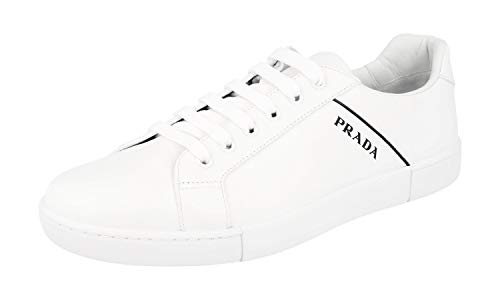 - Prada Men's 4E3340 6DT F0009 White Leather Sneaker EU 7 (41) / US 8