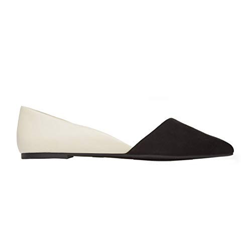 (Rohb by Joyce Azria Provence D'Orsay Pointy Toe Flat (Cream Pu Leather with Black Micro Suede Toe Cap Pu) Size)