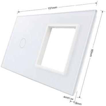 Solo cristal apertura livolo Marco Marco de fotos de cristal Apertura combinado para enchufe y Interruptor de luz VL de C7/de C1//SR de 11/a Blanco