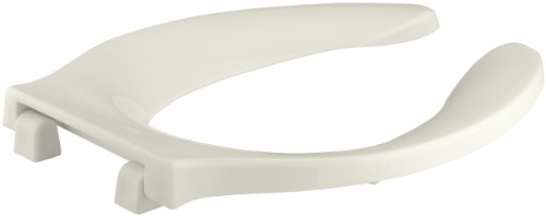Strong Hold Elongated Toilet Seat (KOHLER K-4731-C-96 Stronghold Elongated Toilet Seat with Integrated Handle and Check Hinge, Biscuit)