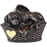 Pet Memorial Angel Dog Sleeping in Basket Cremation Urn Bronze Finish Bottom Load 45 Cubic Inch