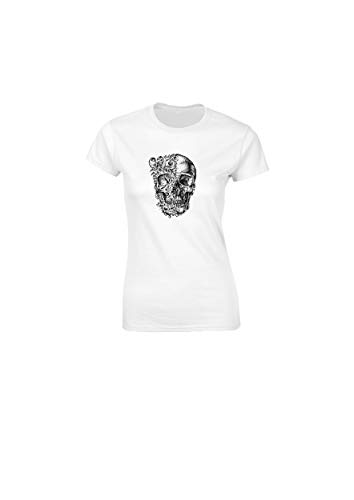 Traditional Tattoo Art Skull and Roses Emo Punk Rock fitted Womens T Shirt