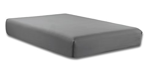 QUEEN size, MEDIUM GREY Solid Fitted Bed Sheet - Super Silky