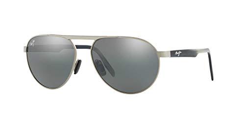 Maui Jim Swinging Bridges 787-14   Polarized Brushed Grey Aviator Frame Sunglasses, with with Patented PolarizedPlus2 Lens Technology
