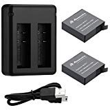 Powerextra AZ16-1 Replacement Battery (2-Pack) and USB Charger for Xiaomi YI AZ16-1 and Xiaomi Yi 4K Action Camera