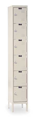 Hallowell U1288-6A-PT Parchment Steel Premium Box Locker, 1 Wide with 6 Opening, 6 Tier, 12'' Width x 78'' Height x 18'' Depth, Assembled