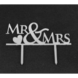 Mirror Silver Acrylic Wedding Cake Topper Party Decoration Cupcake Stand (Mirror Silver - Mr & Mrs)