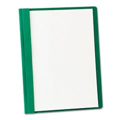 * Clear Front Report Cover, 3 Fasteners, Letter, 1/2'' Capacity, Green, 25/Box