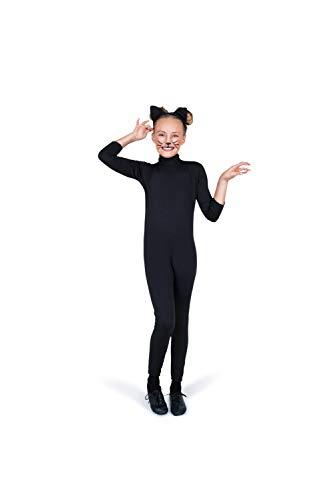 Black Cat Costume, Girls Cat Leotard with Tail, Kids 5-6 Years, Medium