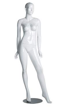 Female Glossy White Cameo Fiberglass Mannequin - Height 5'10'' - with Base by SSWBasics (Image #1)