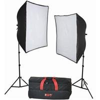 (Smith Victor KSB-1000F Economy Softbox Two Light Kit, with 2 SBL-2436 Softbox Lights, Light Stands, 2 75-watt Fluorescent Lamps, & SoftCase on Wheels, 120V AC)