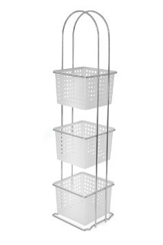 Superbe Floor Standing 3 Tier Shower Caddy With Plastic Basket Organiser Basket Rack