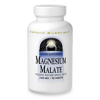 Source Naturals Magnesium Malate 1250mg Supplement Supports Muscle Function, Health and Energy Production - Essential Magnesium Malic Acid Supplement - 90 Tablets