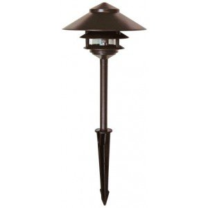 Malibu Lighting 8608-0203-01 20W Low Voltage 3-Tier Industrial Path Light - Aged Brass