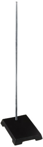 Frey Scientific Heavy Black Enamel Cast Iron Base Laboratory Support Stand with Plated Steel Rod, 6