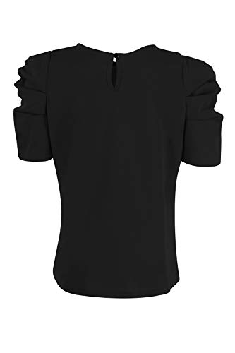 GORLYA Girl's Puff Sleeve Casual Solid T-Shirt Pullover Keyhole Back Blouse Tops for 4-14 Years 4