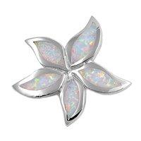 Petits Merveilles D'amour - Collier Femme - Argent Fin 925/1000 - Opale Blanc Plumeria (Vient avec Chaîne de 45 CM)