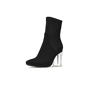 Boots Crystal Shoes Women'S For 5 Mid Evening amp;Amp; EU36 UK3 Toe Spring Suede Heel Heel US5 CN35 RTRY Party 5 Boots Zipper Calf Dress Fall Boots Round Fashion Chunky wvUqYn5xd