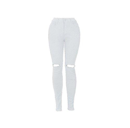 FuweiEncore Jeans Skinny Jeans Pantalons d't Jeans pour Femmes Zipper Hipster Taille Haute Jean Skinny avec Trous Blanc