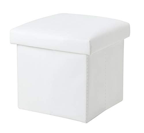 NISUNS OT01 Leather Folding Storage Ottoman Cube Footrest Seat, 12 X 12 X 12 Inches (White) (Ottoman Storage White)