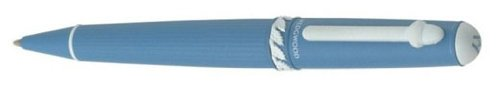 Wedgwood Blue Ballpoint Pen, Leaf Motif Middle Ring with White Accents