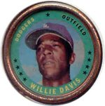 1971 Topps Topps Coins (Baseball) Card# 93 willie davis of the Los Angeles Dodgers VGX Condition