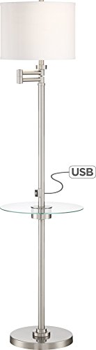 Skylar Brushed Nickel Tray Floor Lamp with USB (Euro Nickel Floor Lamp)