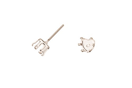 Heat Shape Snap-On Ear Stud Silver Plated Brass Fits 6mm Cabochons And Crystal With Surgical Stainless Steel Pin 6X6mm sold per 10pcs/pack (3pack bundle), SAVE $2 ()