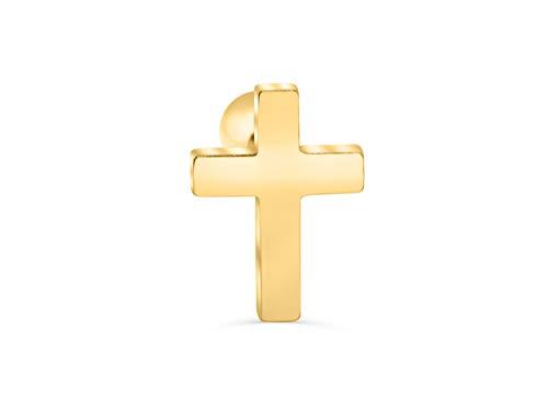 (ONDAISY 14K Gold Plated Stainless Steel Big Lucky Cross Ear Stud Earring Piercing 16g For Women Girls Men)