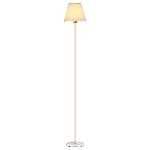 HAITRAL Modern Floor Lamp - Tall Standing Bedroom Lamp with White Marble Base, Tall Reading Lamp for Living Room, Bedroom, Den, Office - Gold