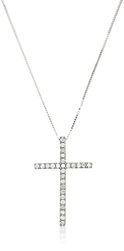 Womens White Diamond Pendant Necklace