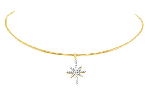 Round Shape White Natural Diamond Starburst Wire Choker Pendant In 14k Yellow Gold (0.20 cttw) ()