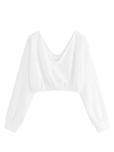 Verdusa Women's V Neck Pullover Long Sleeve Crop Top Sweatshirt White M (White Long Sleeve V Neck Crop Top)