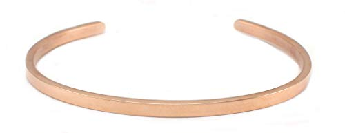 COUYA Rose Gold Plated Cuff Bracelets Women Fashion Classic Bangle Pink (3mm Cuff)