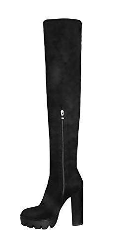 OLCHEE Women's Sexy Thigh High Boots - Over The Knee Platform Chunky High Heeled Bootie