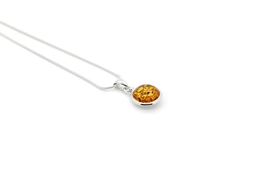 Round Sterling Silver Pendant Necklace with Genuine Natural Baltic Amber. Chain included