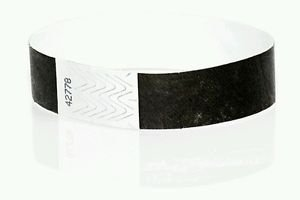 500 Count - 3/4'' Tyvek Wristbands - Black